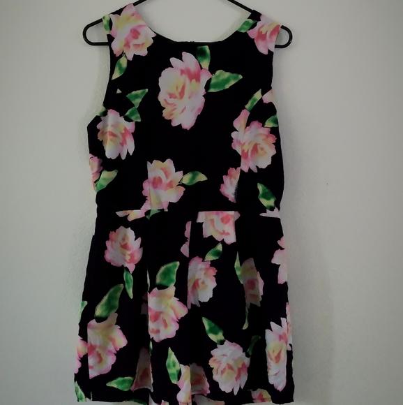 Monteau Dresses & Skirts - Deep navy blue pink floral romper jumpsuit